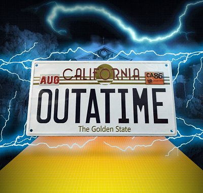 Back To The Future Metal Sign ´Outatime´ DeLorean License Plate