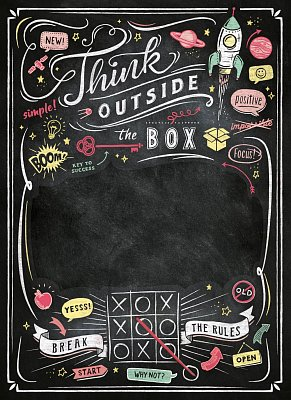 Think Outside The Box Blackboard Puzzle